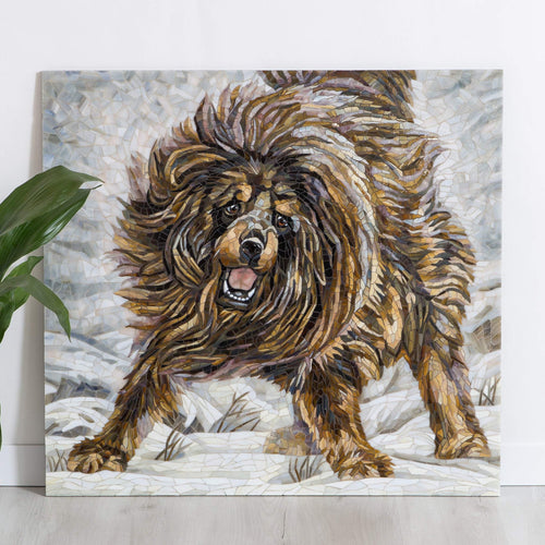 Running brown Tibetan Mastiff - handcrafted stained glass mosaic wall art