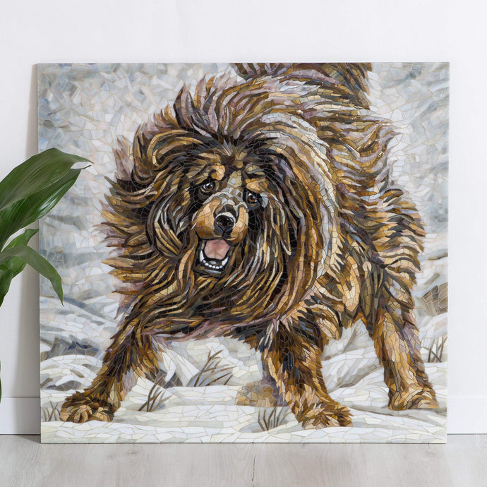 Running brown Tibetan Mastiff mosaic of stained glass