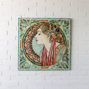 Mosaic of stained glass depicting woman in laurel by Alphonse Mucha for wall decor