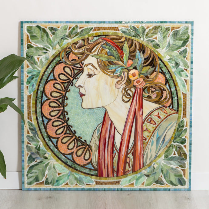 Stained glass mosaic depicting a woman in laurel leaves by Alphonse Mucha pattern