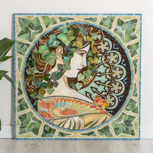 Beautiful woman in ivy leaves mosaic of stained glass by Alphonse Mucha for home decor