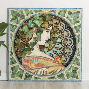 Beautiful woman in ivy leaves stained glass mosaic by Alphonse Mucha