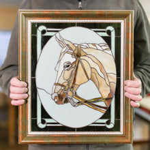 Load image into Gallery viewer, Stained glass horse portrait in an oval panel
