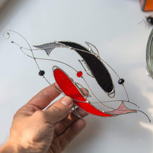 Load image into Gallery viewer, Suncatcher of stained glass yin yang koi fishes of red and black colours