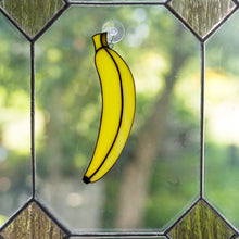 Load image into Gallery viewer, Stained glass banana window hanging