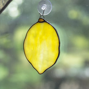 Stained glass lemon suncatcher for kitchen decor