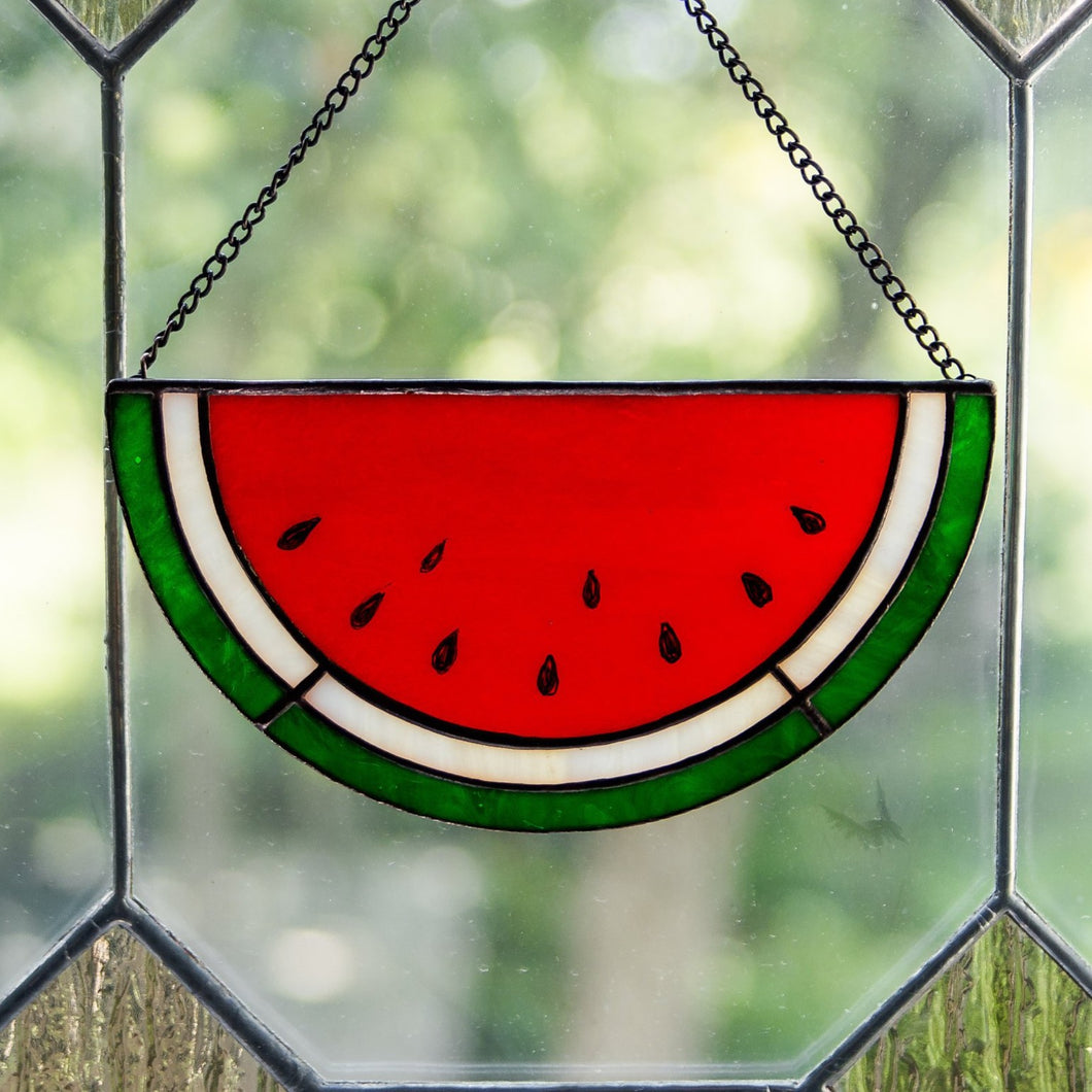 Stained glass watermelon suncatcher for window decor