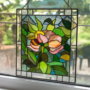 Stained glass peony flower window hanging