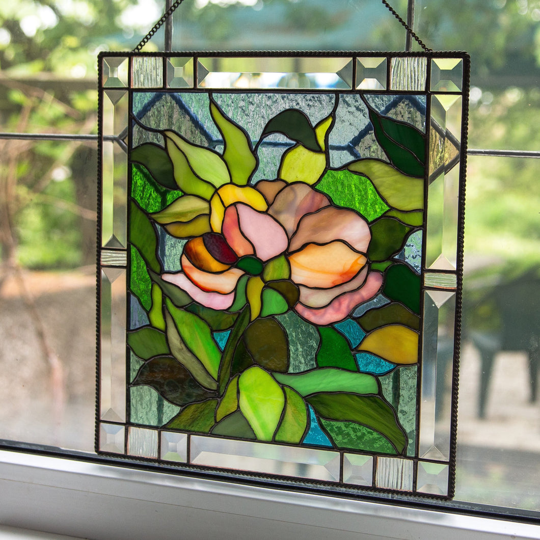 Stained glass panel peony wall art mom gift Custom stained glass window hangings new grandma gift