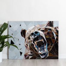 Load image into Gallery viewer, Grizzly bear showing his fangs geometric stained glass mosaic wall hanging