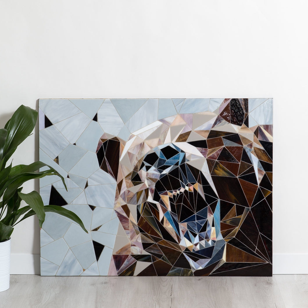 Grizzly bear showing his fangs geometric stained glass mosaic wall hanging
