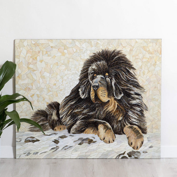 Lying Tibetan Mastiff stained glass mosaic dog portrait