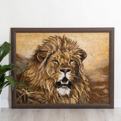 Stained glass mosaic depicting lion portrait with yellow background