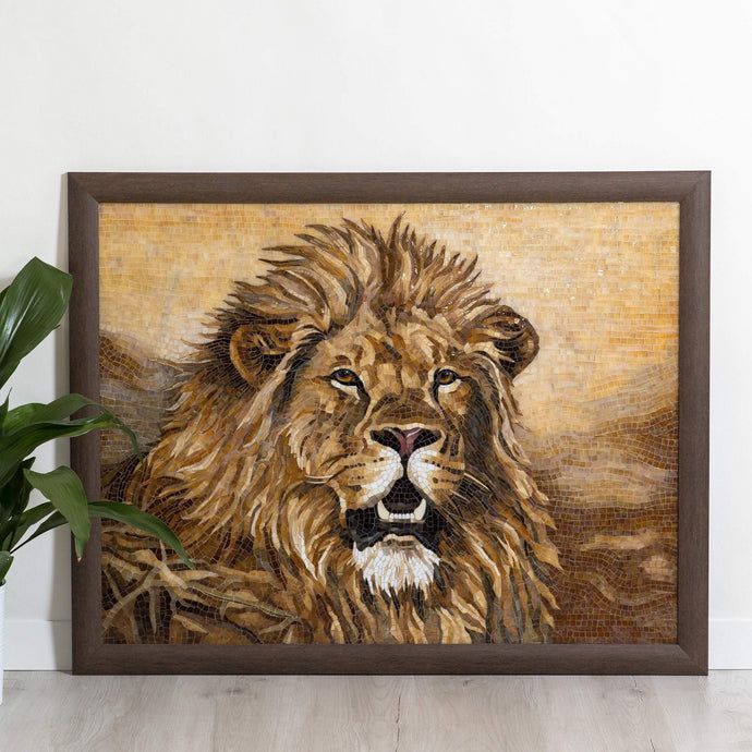 Lion stained glass wall hanging mosaic