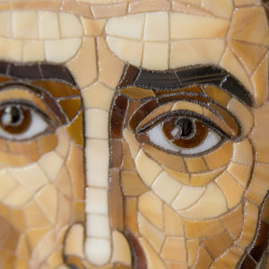 Zoomed face of John the Baptist mosaic of stained glass