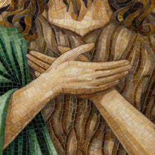 Load image into Gallery viewer, Zoomed hands of stained glass John the Baptist mosaic