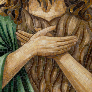 Zoomed hands of stained glass John the Baptist mosaic