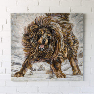 Stained glass mosaic depicting running Tibetan Mastiff for home decor