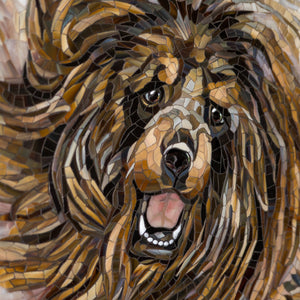Zoomed stained glass snout of Tibetan Mastiff mosaic