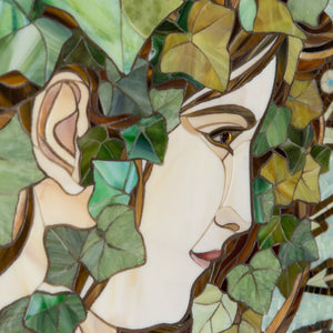 Zoomed stained glass beautiful woman in ivy leaves by Alphones Mucha