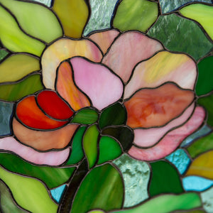 Zoomed stained glass peony flower panel