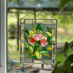 Stained glass window hanging depicting peony flower for home decor