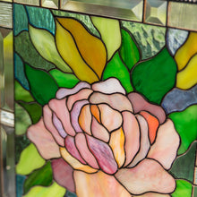 Load image into Gallery viewer, Zoomed stained glass panel depicting pink peony