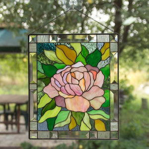 Stained glass pink peony window hanging panel