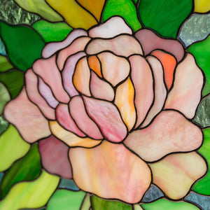 Zoomed stained glass pink peony panel