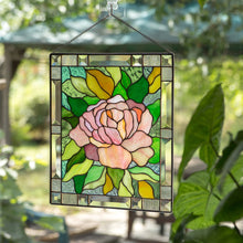 Load image into Gallery viewer, Pink peony with green leaves stained glass panel