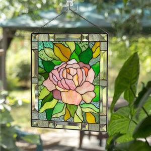 Pink peony with green leaves stained glass panel