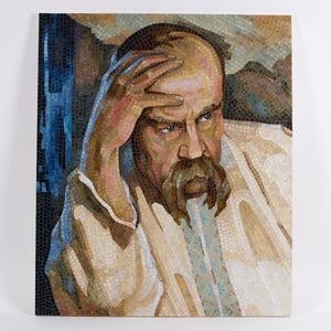 Stained glass mosaic wall hanging depicting Taras Shevchenko's portrait