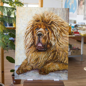 Stained glass mosaic dog Custom pet portrait Tibetan Mastiff mosaic wall art Pet loss gifts