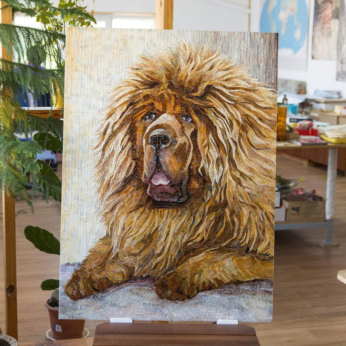 Stained glass portrait mosaic of Tibetan Mastiff for wall decor