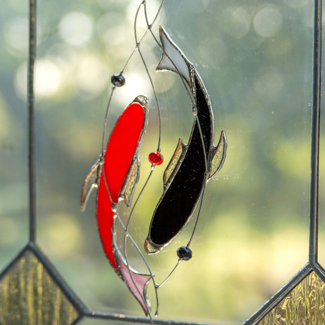 Stained glass yin yang koi fishes suncatcher of red and black colours