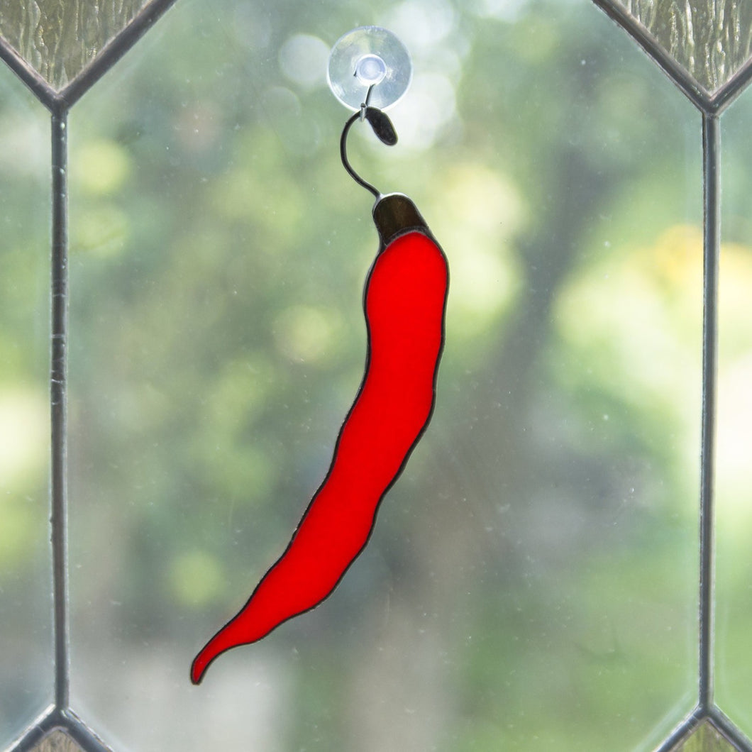 Stained glass chilli pepper suncatcher for kitchen