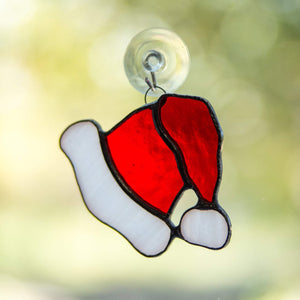 Stained glass Santa's hat suncatcher for Christmas window decor