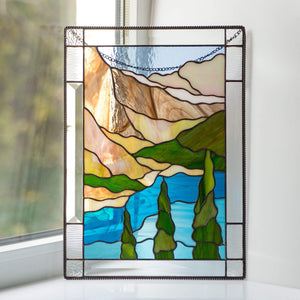Custom stained glass window panel Banff national park Mountain stained glass window hangings wanderlust gift