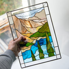 Load image into Gallery viewer, Custom stained glass window panel Banff national park Mountain stained glass window hangings wanderlust gift