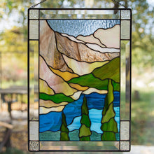 Load image into Gallery viewer, Banff national park stained glass panel depicting mountains, waters, firs for home decoration