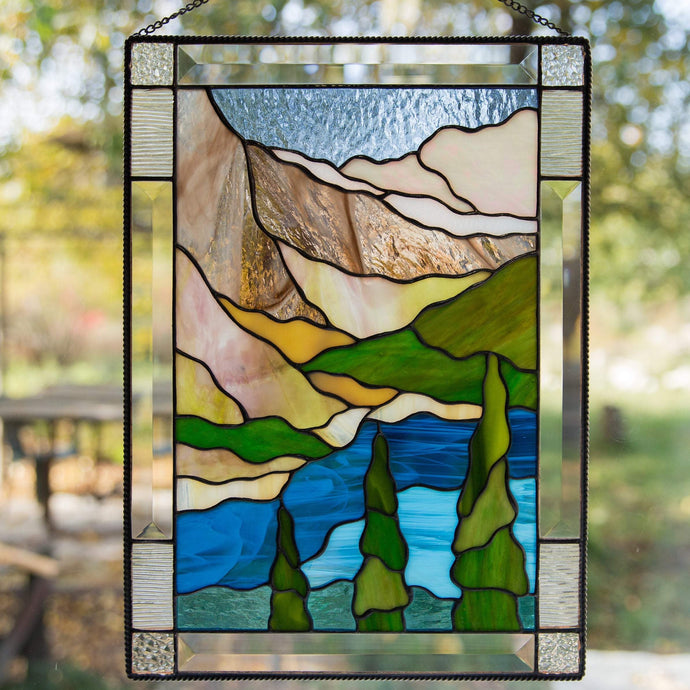 Banff national park stained glass panel depicting mountains, waters, firs for home decoration