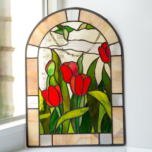 Red tulips window hanging of stained glass for home decor