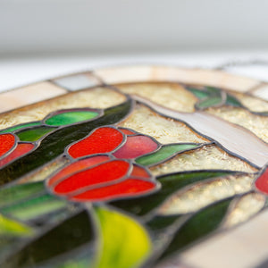 Zoomed stained glass red tulips panel
