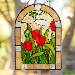 Stained glass red tulips window hanging