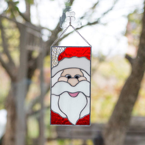 Stained glass Santa Claus' portrait panel  for Christmas decor