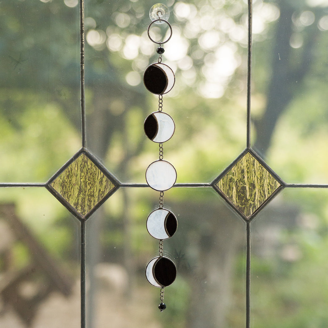 Stained glass moon phases suncatcher for window decoration