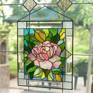 Stained glass pink peony with leaves on the background panel