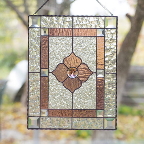 Stained glass clear and pink panel with beveled inserts for window decoration