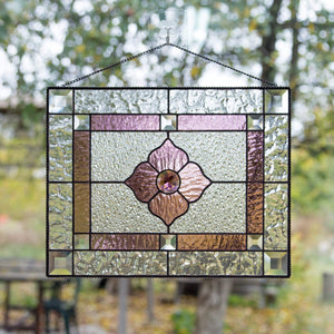 Stained glass clear window hanging with pink and clear inserts