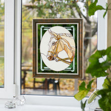 Load image into Gallery viewer, Stained glass horse panel in a frame as a window hanging